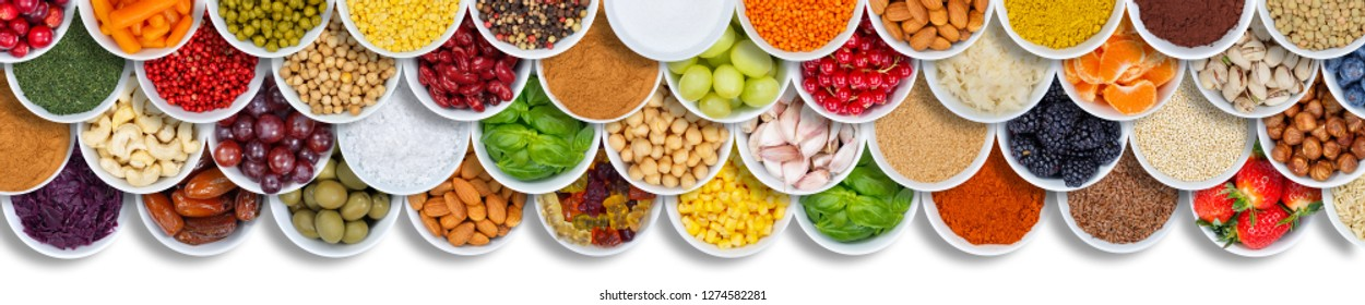 Fruits and vegetables food background spices ingredients berries banner copyspace copy space from above fruit