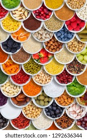 Fruits and vegetables food background spices ingredients portrait format berries from above fruit