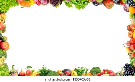 Fruits and vegetables frame on white