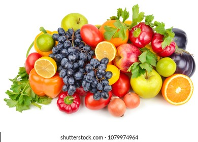 Fruits and vegetables isolated on a white background. Healthy food.
