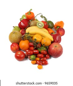fruits and vegetables - isolated on white