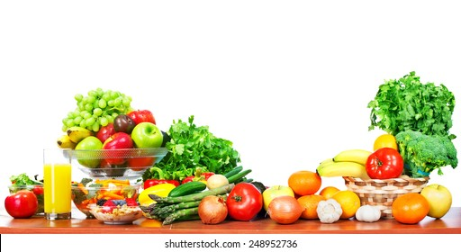 Fruits and vegetables isolated white background. Diet.