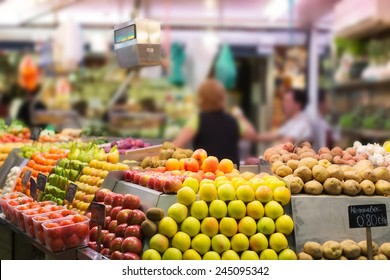 Fruits and vegetables on counter at european market
