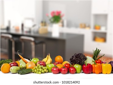 Fruits and vegetables on kitchen