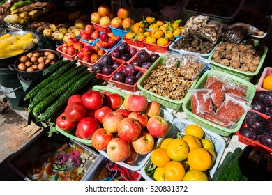 Fruits and vegetables on sale