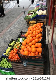 Fruits and Vegetables on a supermarket shelves in Kadikoy...(022019-Istanbul, Turkey)