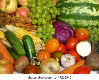 A lot of fruits and vegetables on the table