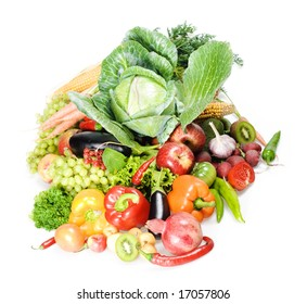 fruits and vegetables on white