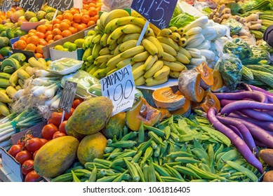Fruits and vegetables for sale at a market in Santiago de Chile
