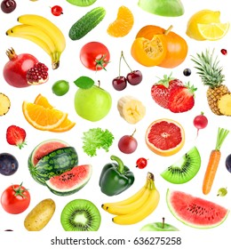 Fruits and vegetables seamless pattern. Background of fresh falling mixed healthy food