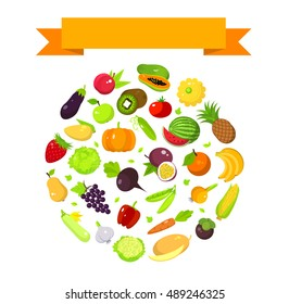 Fruits and vegetables set in a round shape with a space for text and ribbon, harvest banner template, flat illustration