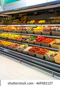 Fruits and vegetables shelf in supermarket