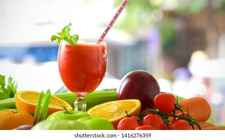 Fruits and vegetables to spin with Healthy eating with Fresh fruits and Vegetable  fruits colorful background