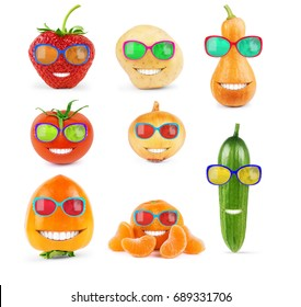 Fruits and vegetables in sunglasses on a white background, large set - Shutterstock ID 689331706