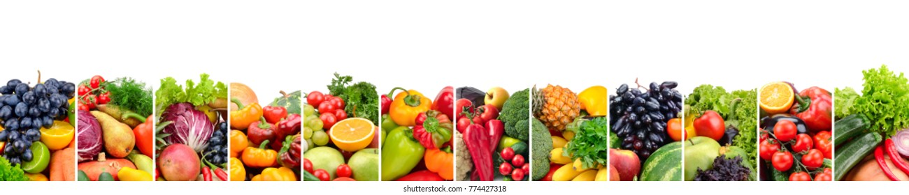 Fruits and vegetables useful for health isolated on white background.