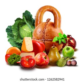 Fruits, vegetables and weight. Sport and sports nutrition.  Meat product in the form of a sports object. Health. Image on a white background.