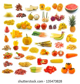 Fruits, vegetables, yellow and red. With beta carotene.
