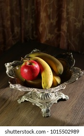 Fruits  in a vintage silver bowl