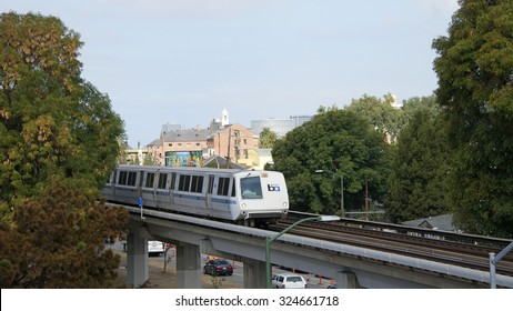 FRUITVALE, CA - SEPTEMBER 06, 2015: The San Francisco Bay Area Rapid Transit train, referred to as BART, carries commuters to their destinations in San Francisco, the East Bay and San Mateo County.