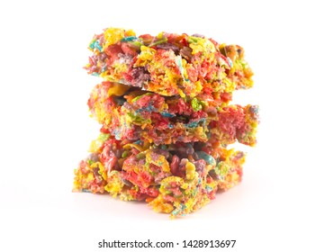 Fruity Cereal Marshmallow Treat Bars Isolated on a White Background