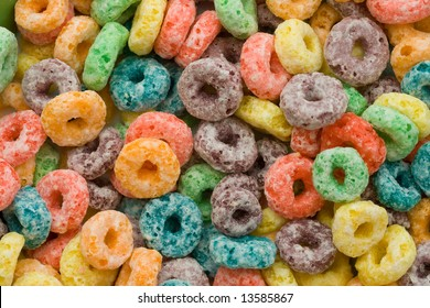 Fruity cereal! Very highly detailed macro shot of a sugary snack.