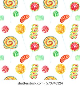 Fruity lollipops sweet bright colors candies, seamless pattern hand painted watercolor illustration