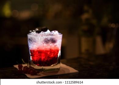 Fruity refreshing bramble cocktail