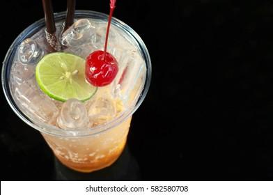 Fruity soda on black background