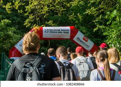 "Fruska Gora, Serbia April 28, 2018: ""Fruskogorski"" marathon. Fruskogorski maraton is a yearly hiking and ultra running marathon in nature.  It is one of the oldest marathons of this type in Europe."