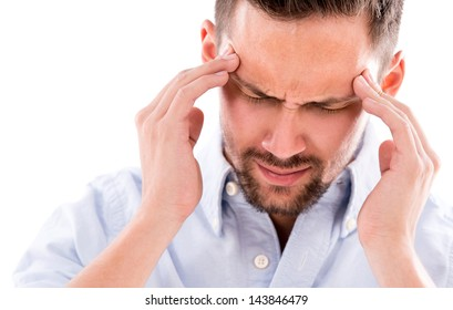 Frustrated business man with a headache - isolated over white