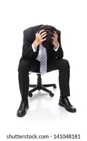 Frustrated business man is sitting on chair, full length, isolated on white background, asian people