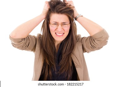 frustrated business woman in stress pulling hair