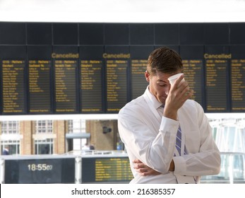 Frustrated businessman in airport