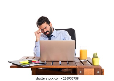 frustrated businessman in his office