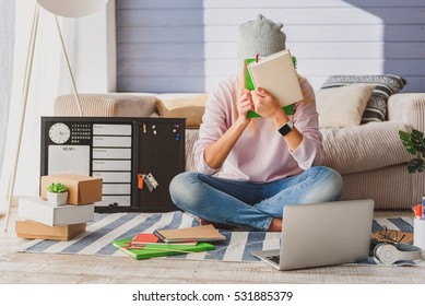 Frustrated female student has to do homework