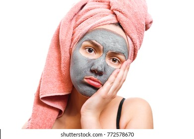frustrated girl with facial mask, mask for skin woman, funny girl, isolated photo,  girl is waiting until the mask for the skin
