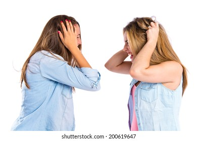 frustrated girls over isolated white background