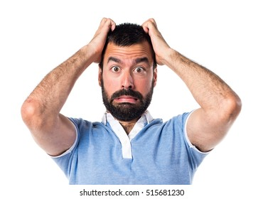 Frustrated man with blue shirt