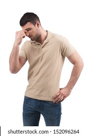 Frustrated man. Depressed young men keeping his eyes closed while standing isolated on white