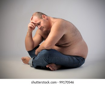 Frustrated overweight man