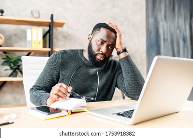 Frustrated sad black guy is watching at laptop screen and holding head with his hand. He read bad news