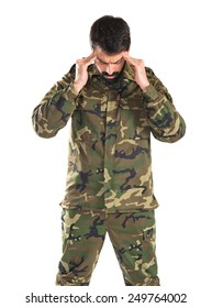 frustrated soldier over white background