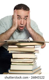 A frustrated student is shocked to see all the books he has to study, isolated against a white background