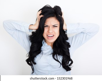 Frustrated woman cry mouth open angry scream hold hands head upset, concept of young girl pain, stress and problems, female depressed