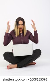 frustrated woman on computer