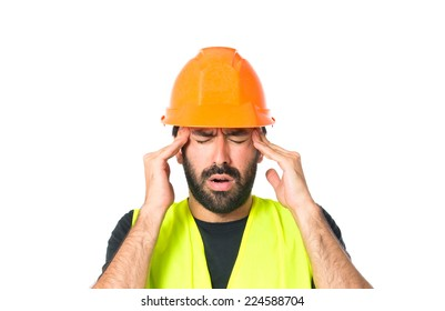 frustrated workman over isolated white background