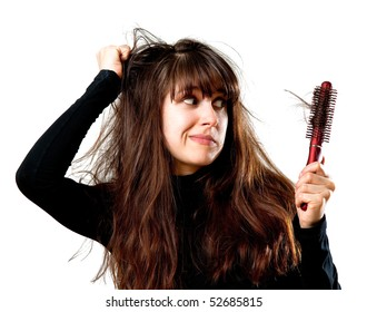 Frustrated young woman having a bad hair day