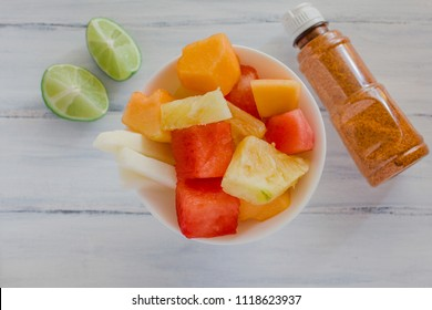 fruta con chile, mexican snack, Bowl of healthy fresh fruit salad