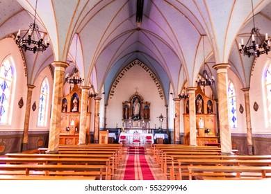 FRUTILLAR, CHILE - MARCH 1, 2015: Interior of a wooden church in Frutillar village.