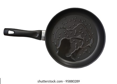 fry pan with cooking oil isolated on white